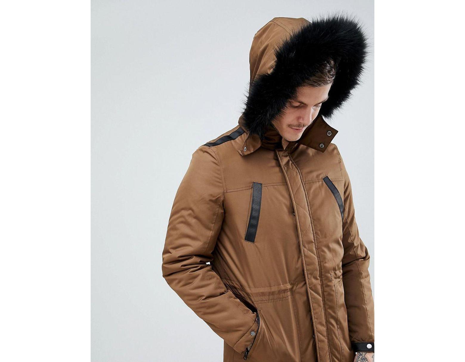 a93f37af3 Men's Brown Parka Jacket With Faux Fur Trim In Tobacco