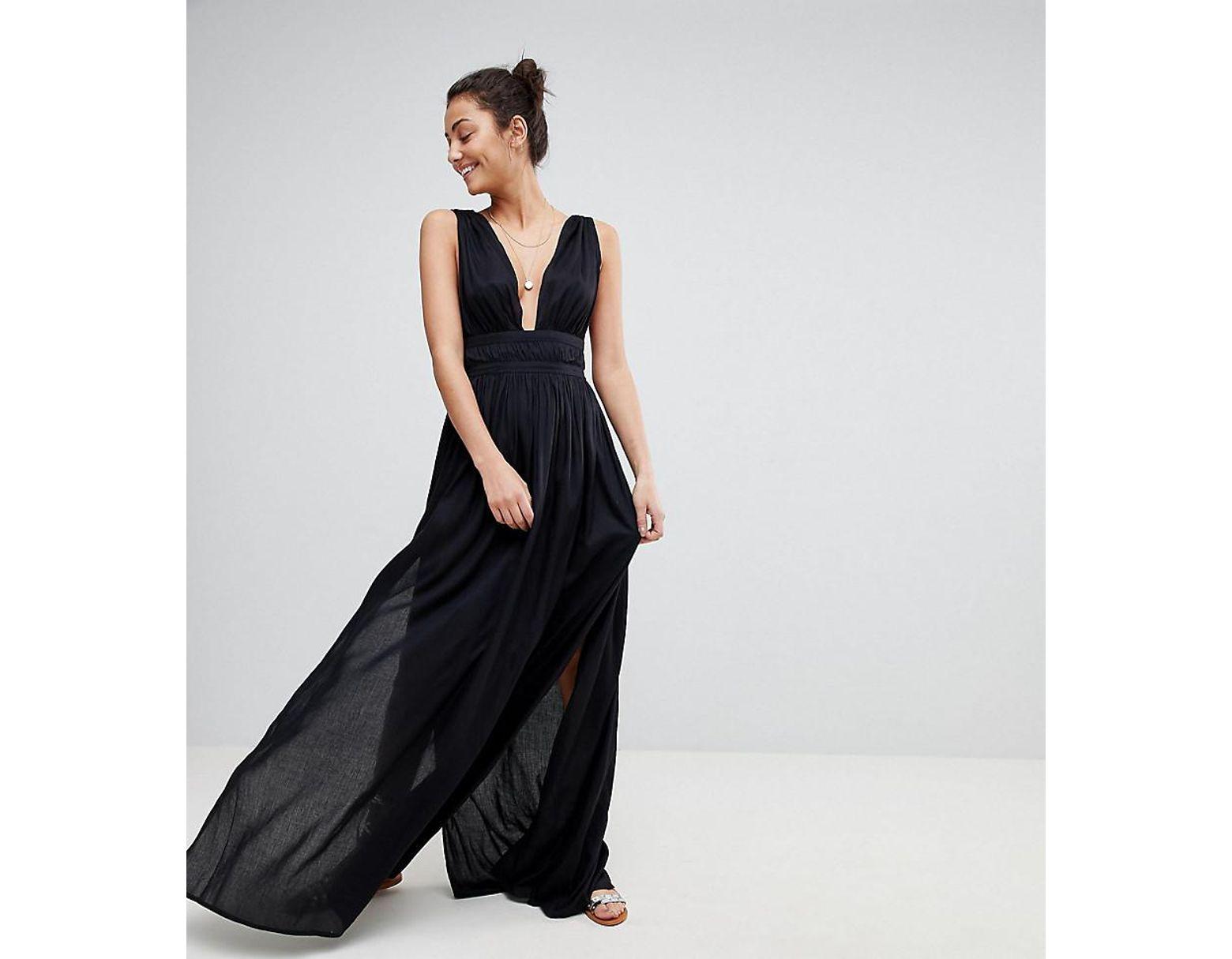 f68a757cc6ab ASOS Asos Design Tall Grecian Plunge Maxi Woven Beach Dress in Black - Lyst