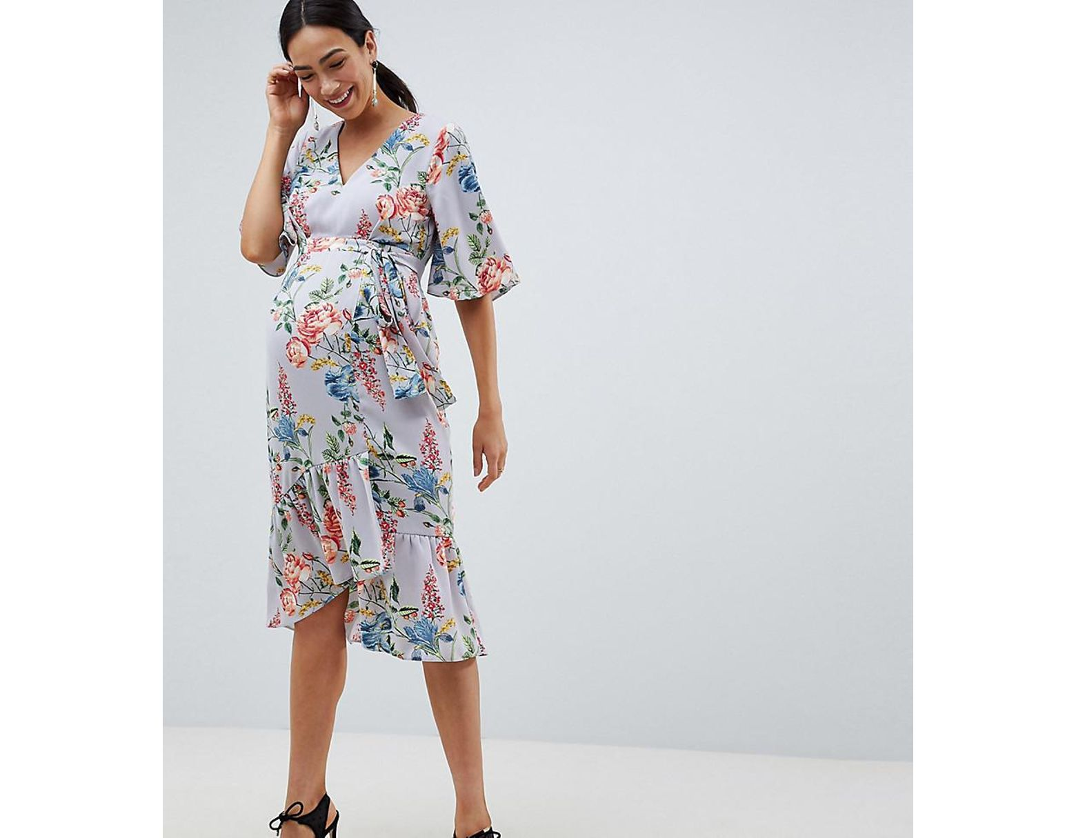 87afff98ce9e4 ASOS Asos Design Maternity Floral Print Kimono Sleeve Wrap Midi Dress in  Blue - Lyst