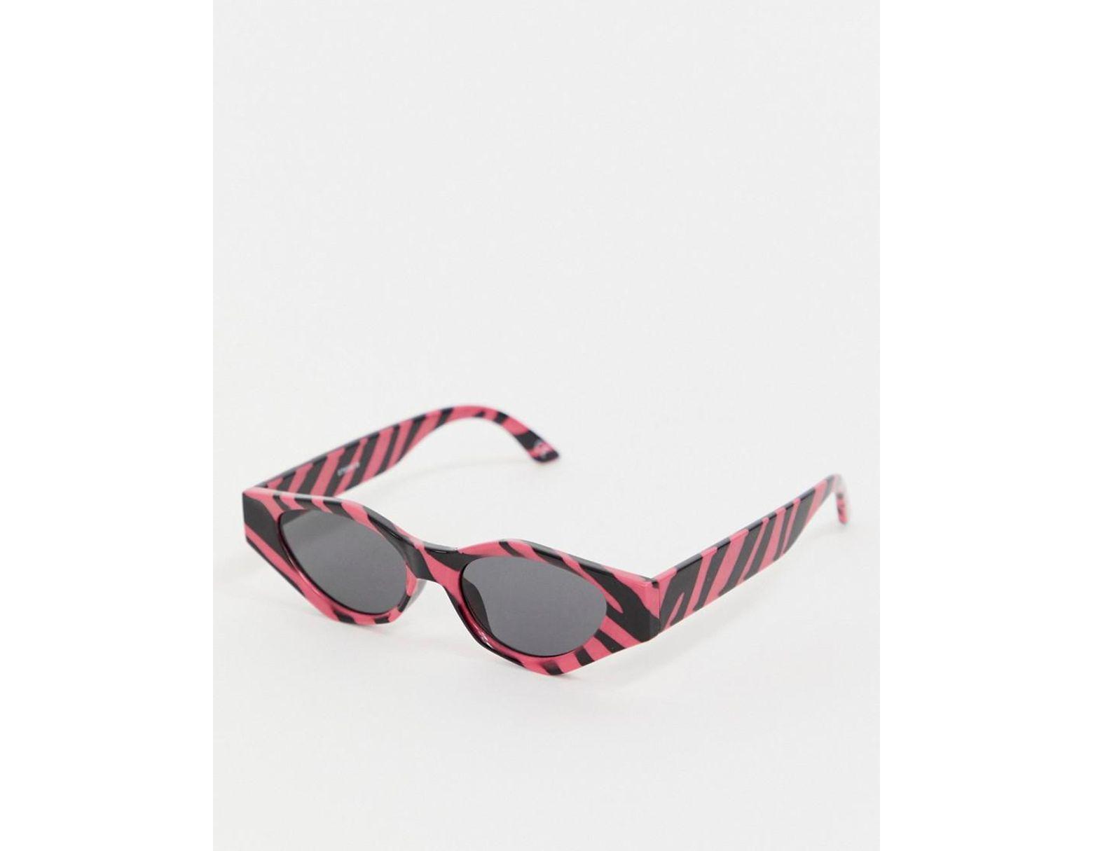 a4a62dbec ASOS Angular Cat Eye Sunglasses In Zebra Print in Pink - Lyst