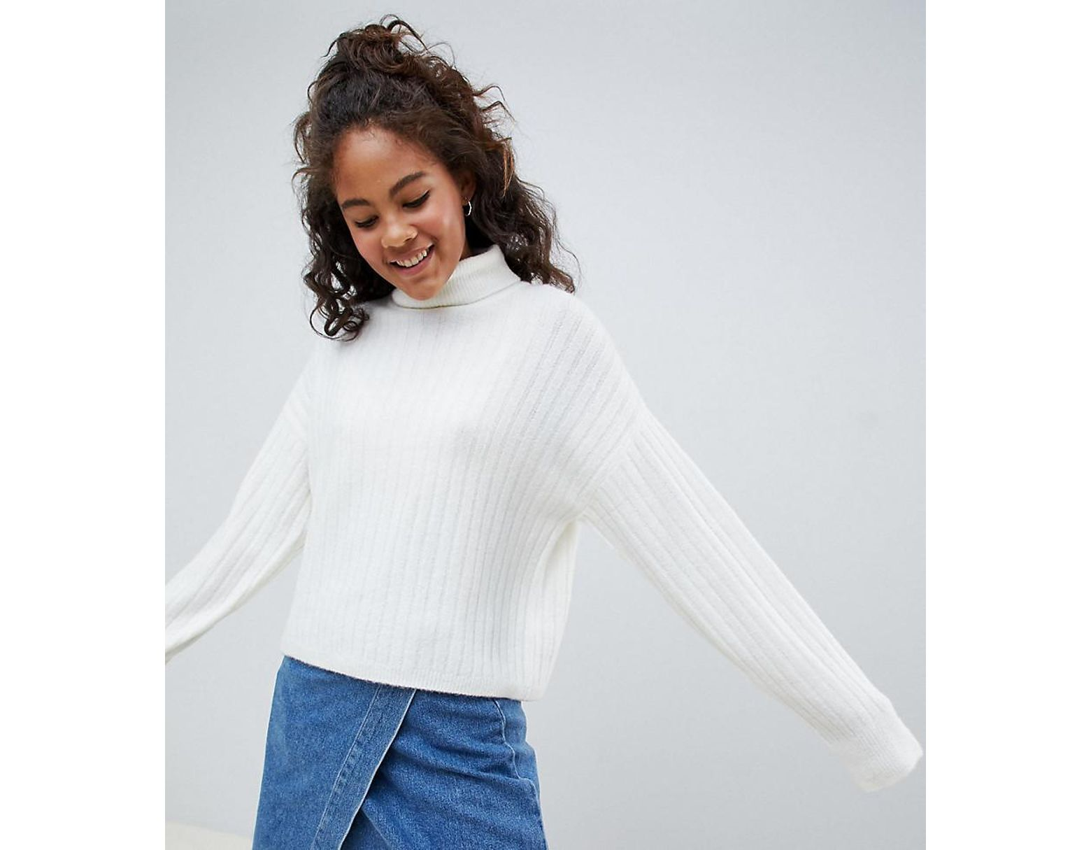 89e4282232e Women's White Asos Design Tall Fluffy Sweater In Rib With Roll Neck