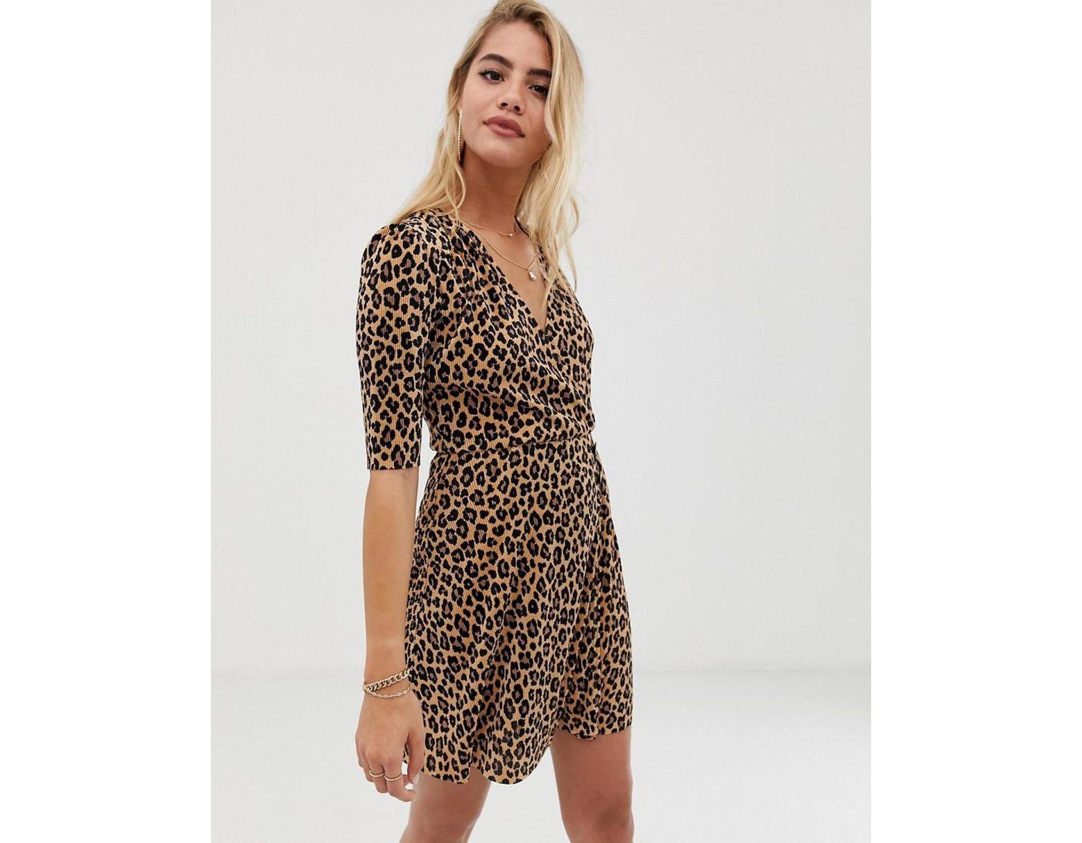 66f52b896da7 ASOS Leopard Print Plisse Mini Dress With Button Detail in Brown - Lyst