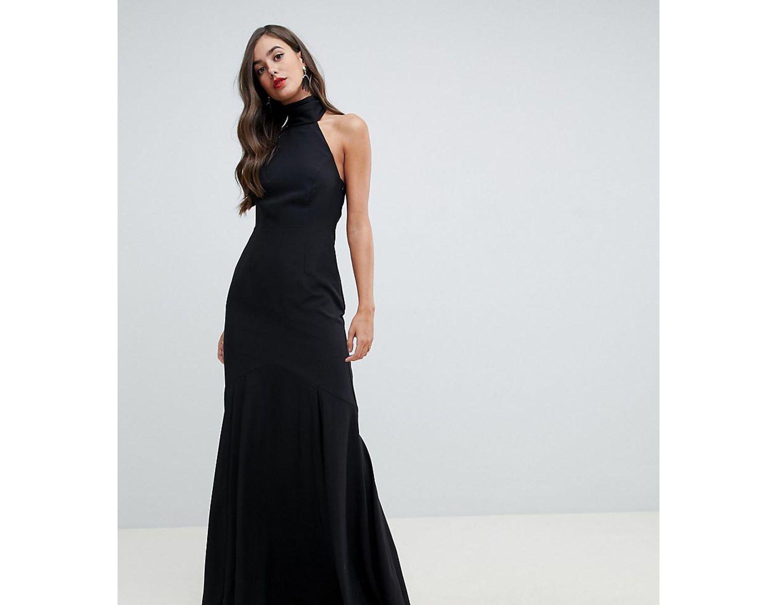 c78ea311e ASOS Asos Design Tall High Neck Maxi Dress In Crepe in Black - Lyst