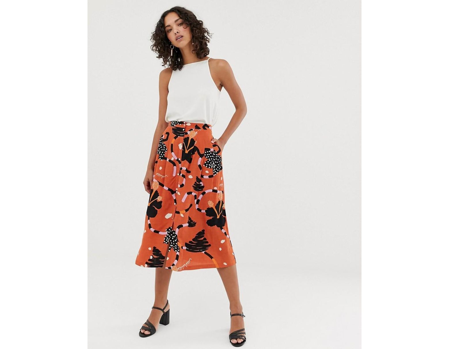 9bd3cf46 SELECTED Femme Button Down Midi Skirt In Abstract Print in Red - Lyst
