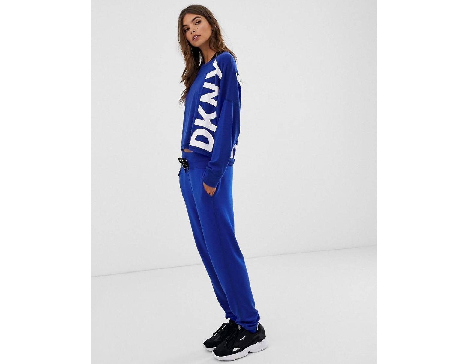 a38a026d Women's Blue Slim Fit jogger With Logo Tape Co-ord