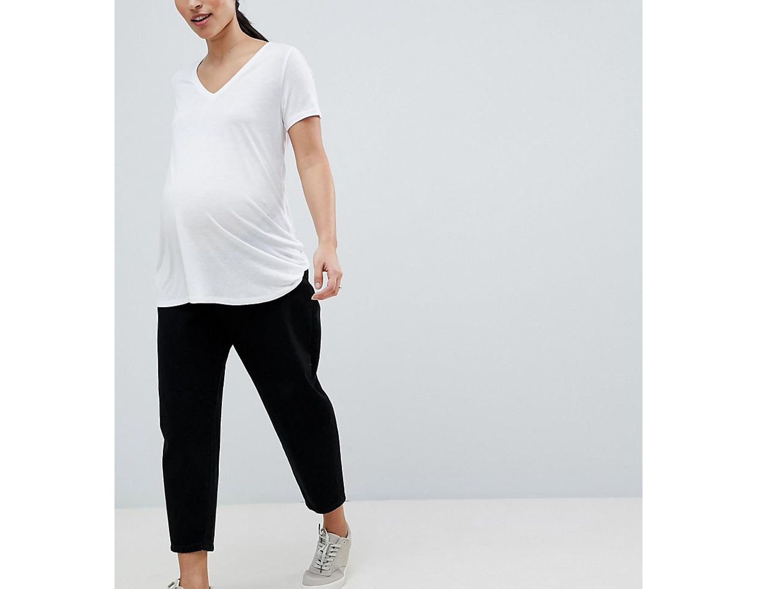 593c7504 Women's Asos Design Maternity Balloon Leg Boyfriend Jeans In Clean Black  With Side Bump Band