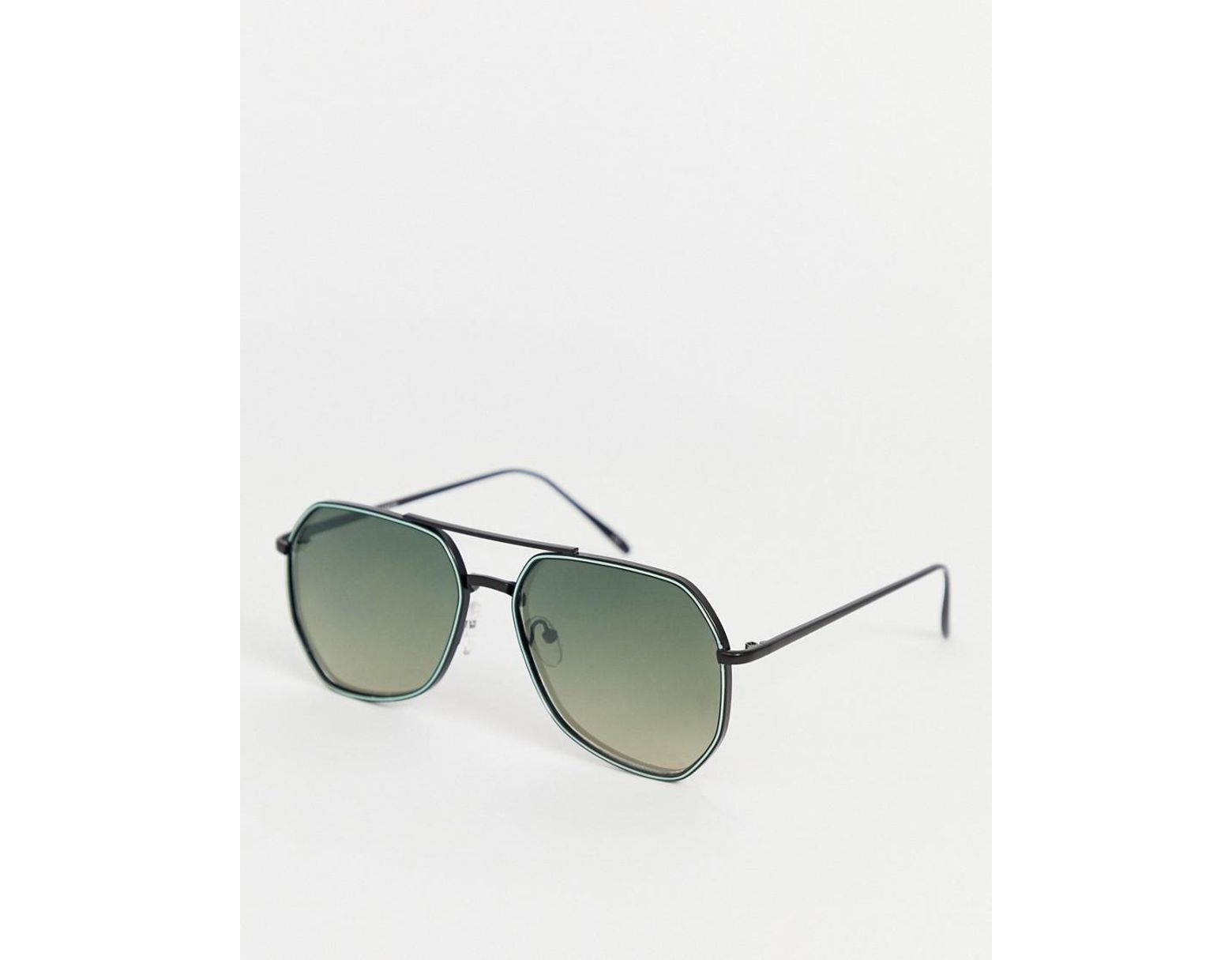 7e1db418956b ASOS Metal Angled Aviator In Black With Smoke Grad Lens And Neon Detail in  Black for Men - Lyst