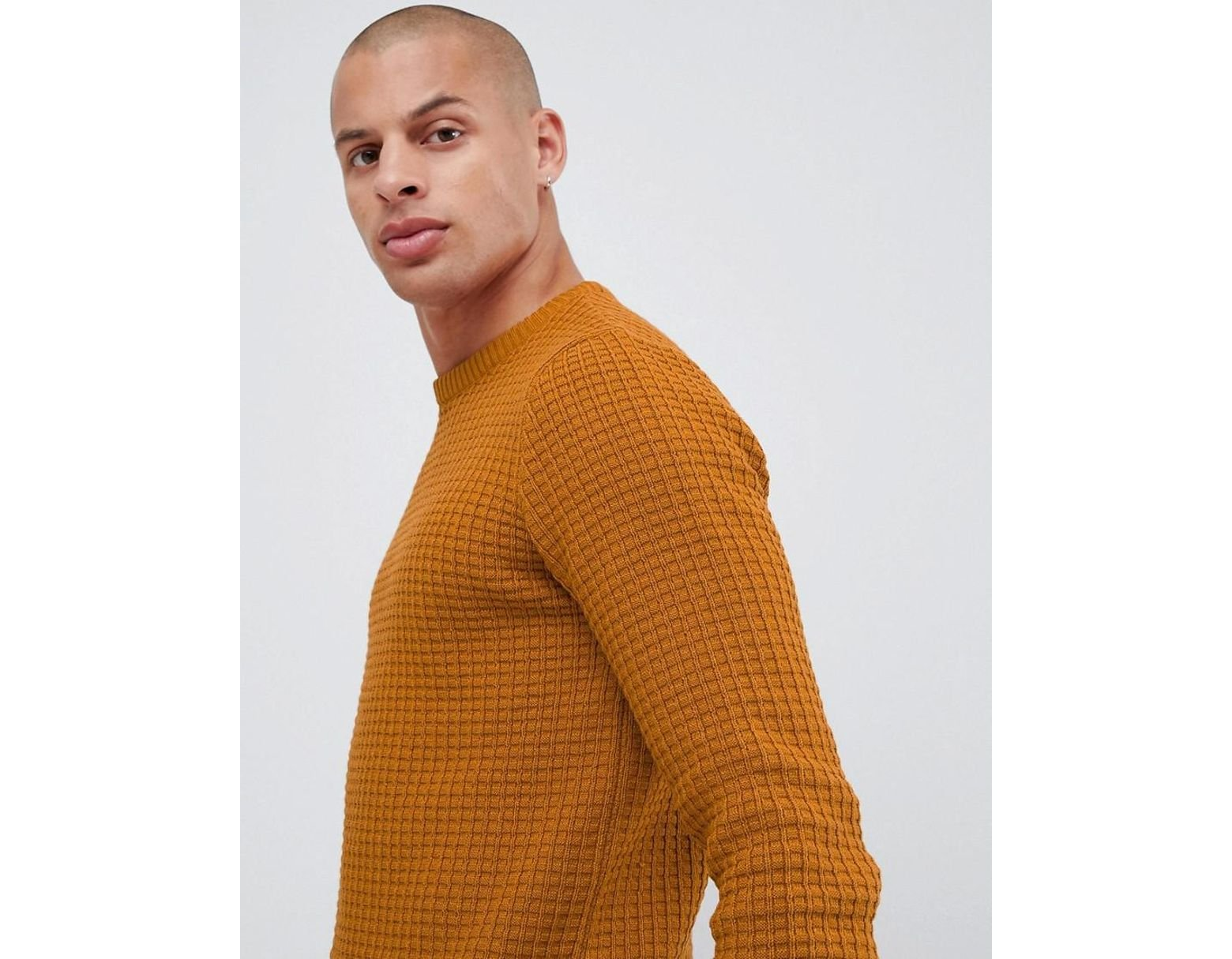 1df29fdc6a5ab9 ASOS Muscle Fit Waffle Textured Sweater In Mustard in Yellow for Men - Lyst