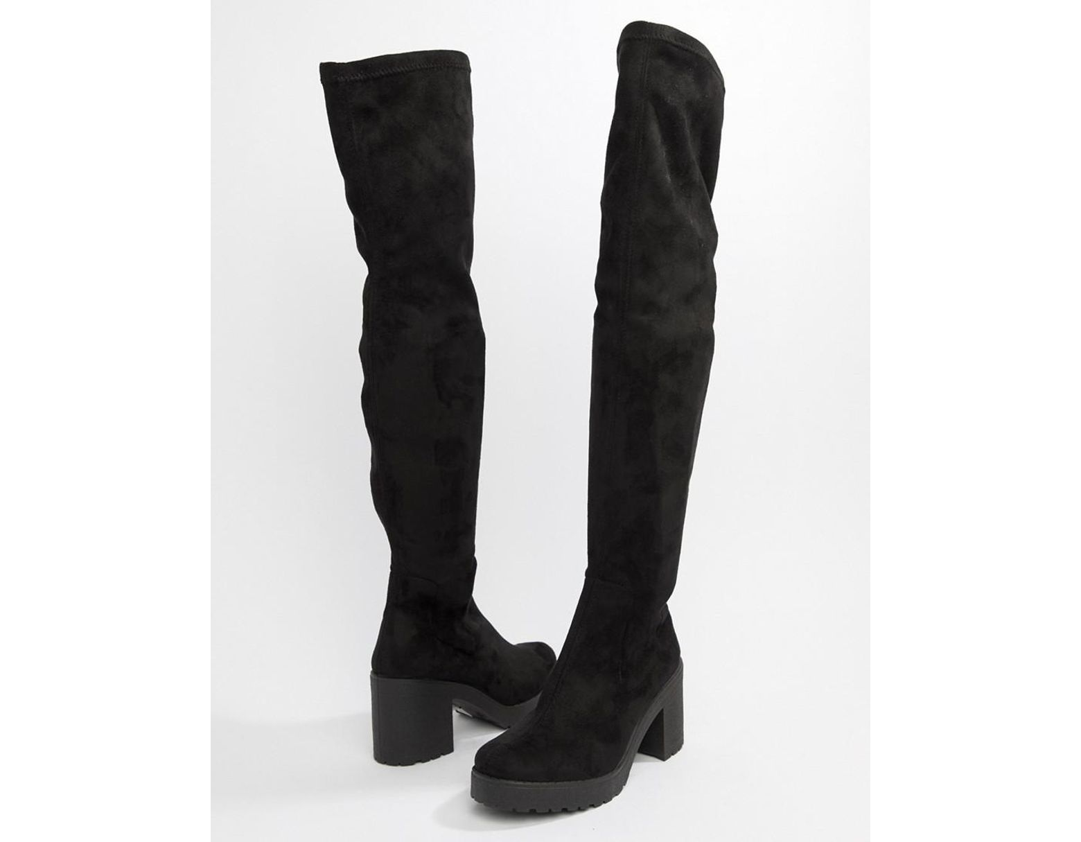 97814d7cdcd Women's Over The Knee Chunky Heel Boots In Black