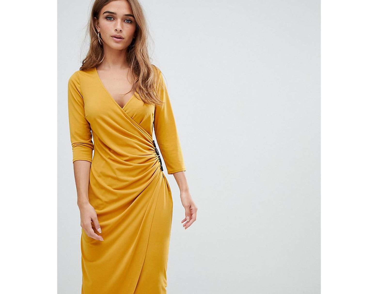 278a8393fd1a ASOS Asos Design Petite Ruched Midi Wrap Dress With Contrast Buttons in  Yellow - Lyst