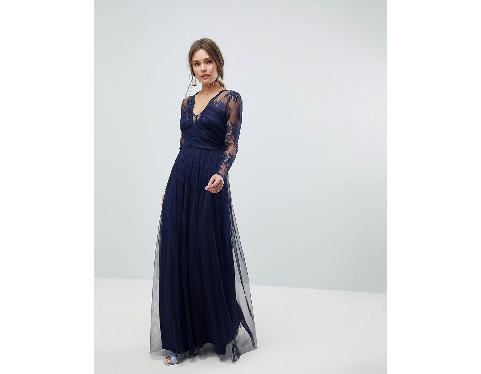 60f96df217 Long Sleeve Blue Lace Maxi Dress - Gomes Weine AG