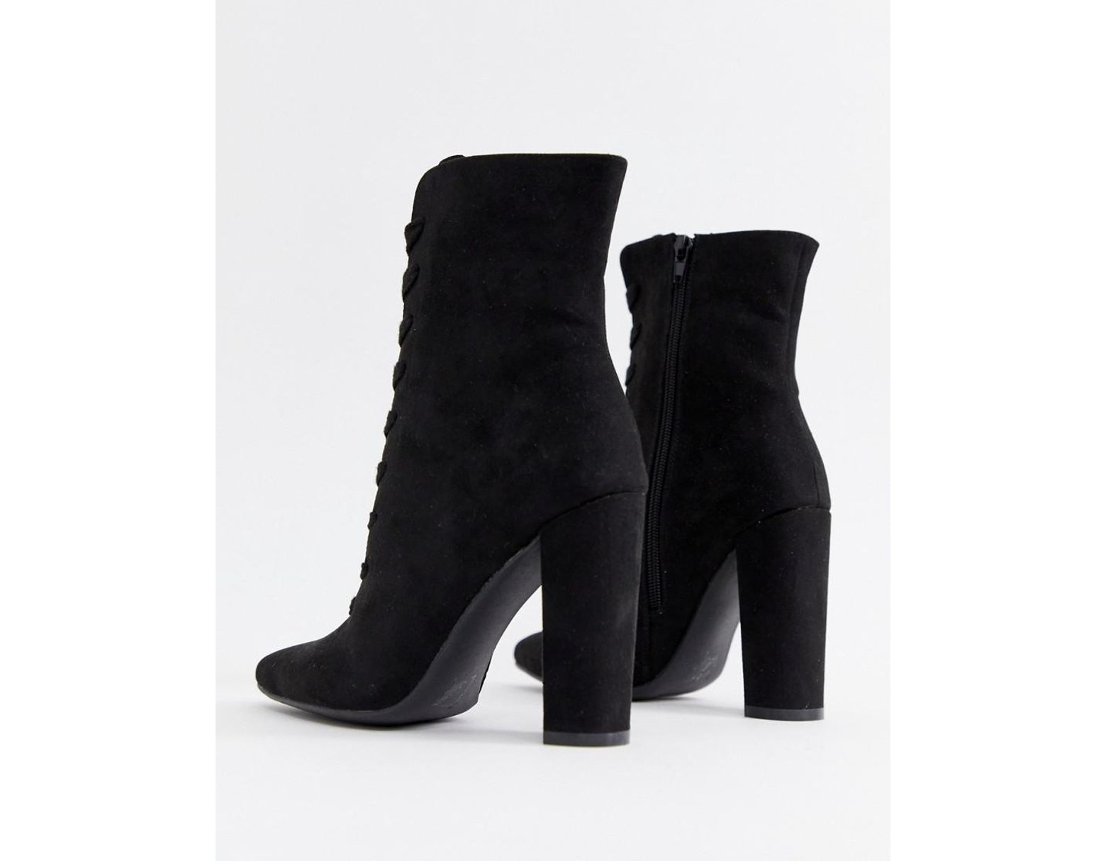 e0e0010d16c Women's Black Elicia Lace Up Heeled Boots