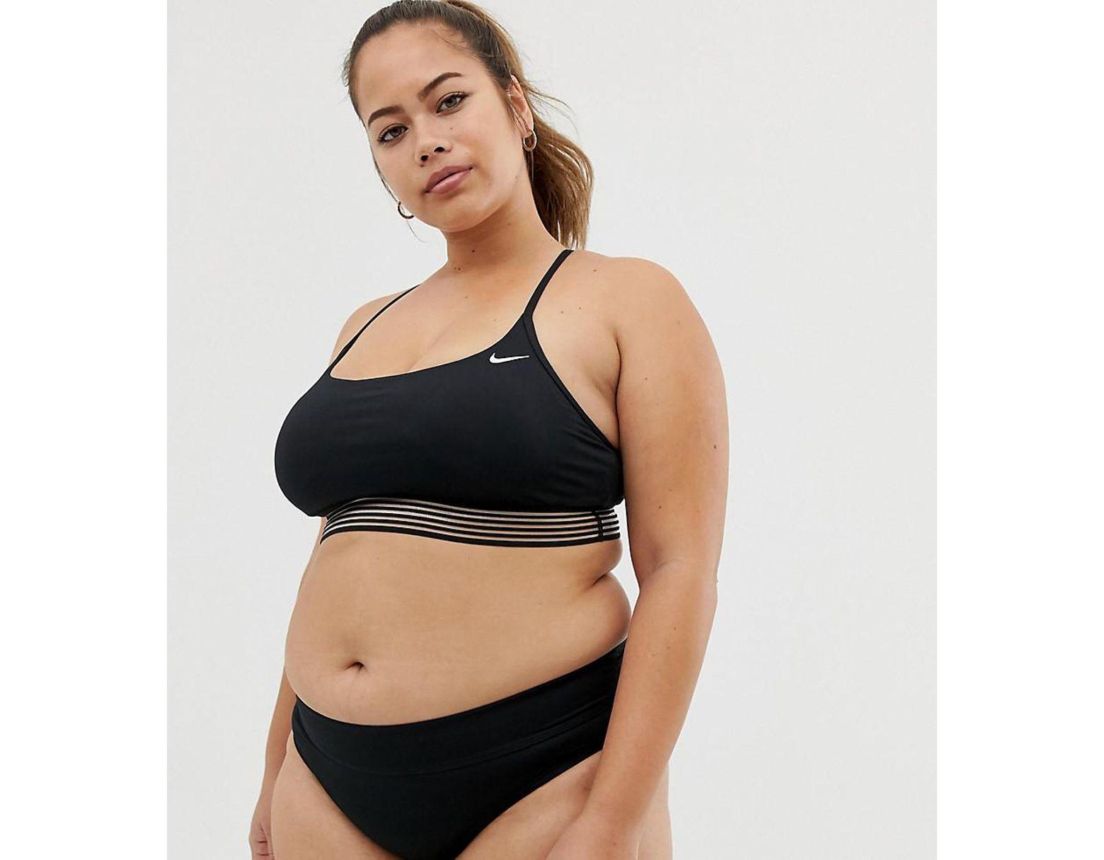 Nike Curve Cross Back Crop Bikini Top In Black in Black Lyst