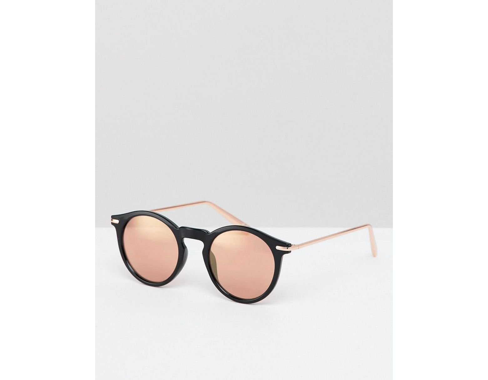 bcf6cc9f82f9 ASOS Round Sunglasses In Black With Rose Gold Mirrored Lens in Black ...