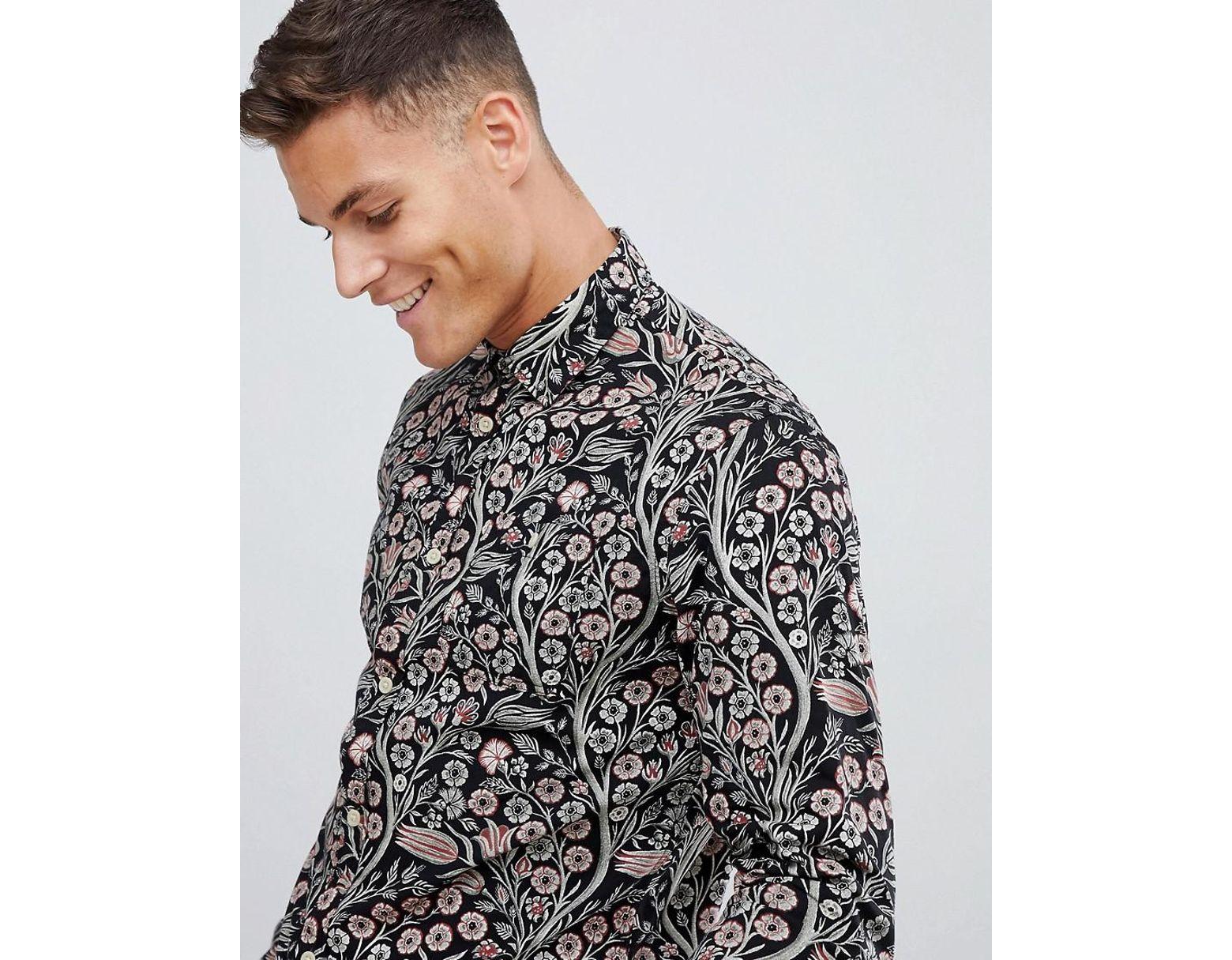 62d34c2ad Jack & Jones Premium Smart Shirt In Slim Fit Floral Print in Black for Men  - Lyst