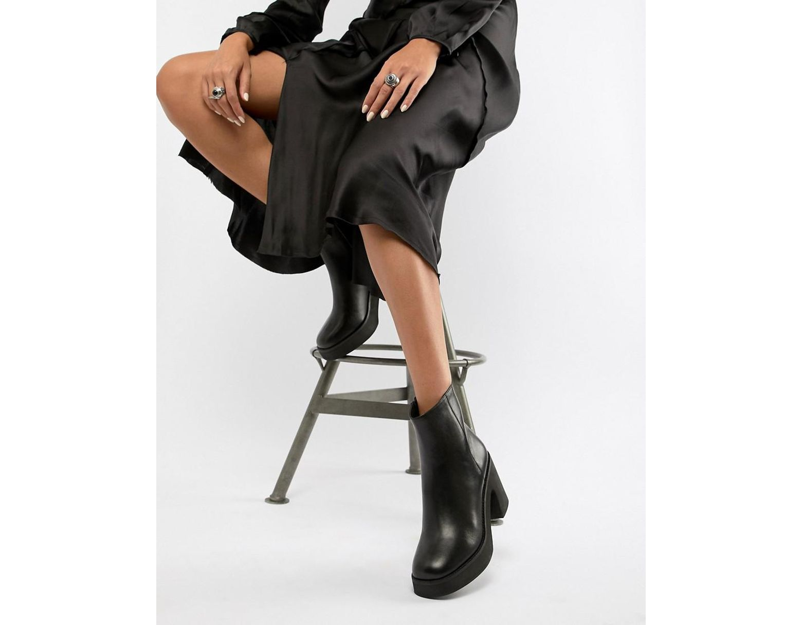 c3152affa10 Women's E8 By Miista Black Chunky Leather Heeled Ankle Boots