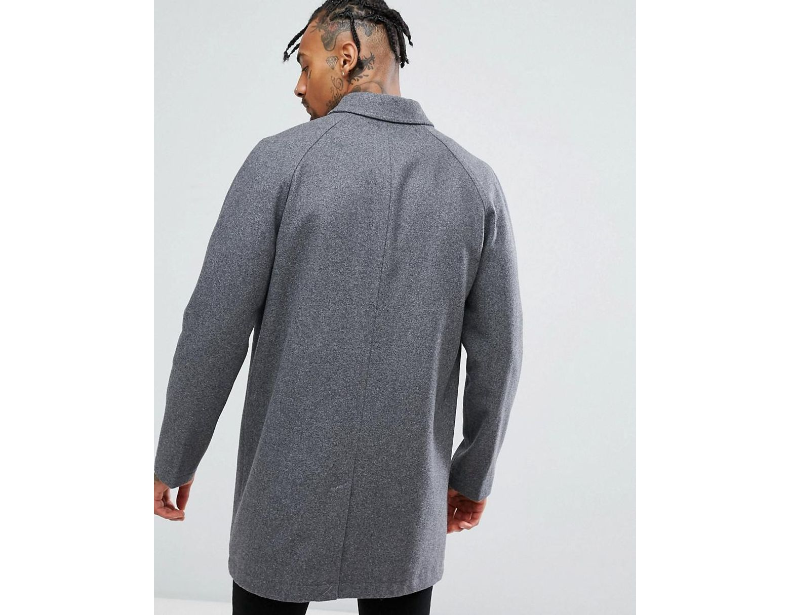 a6a09f54975e ASOS Wool Mix Trench Coat In Light Gray in Gray for Men - Lyst