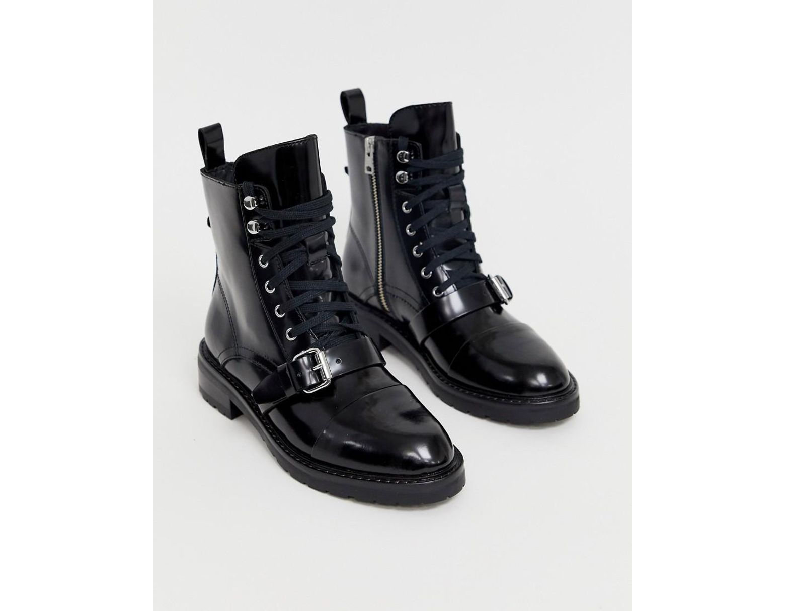 de2ebba1e06 AllSaints Donita Leather Lace Up Hiking Boot With Buckle in Black - Lyst