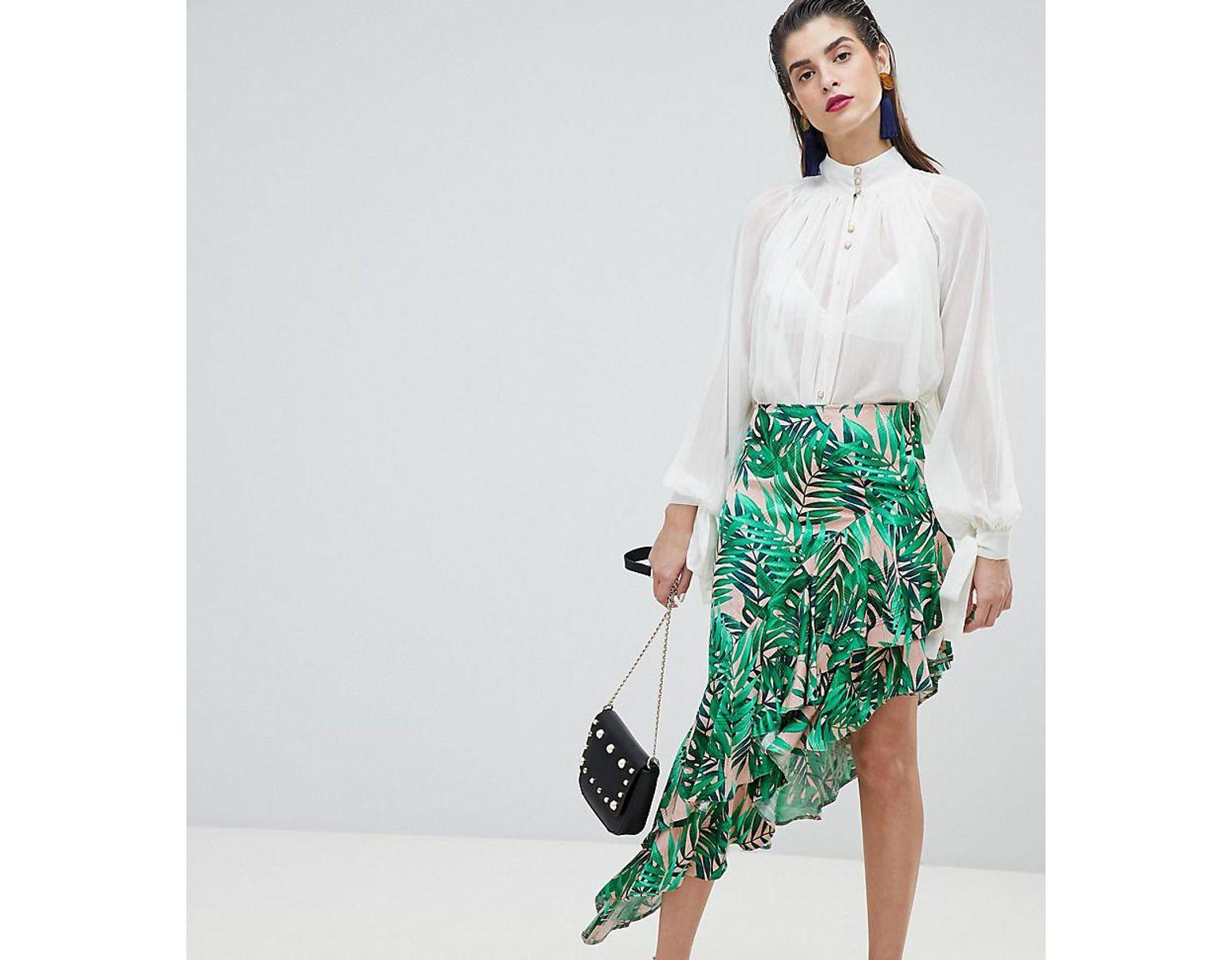 db33338917747d Jupe mi-longue à imprimé tropical et ourlet asymétrique femme de coloris  vert