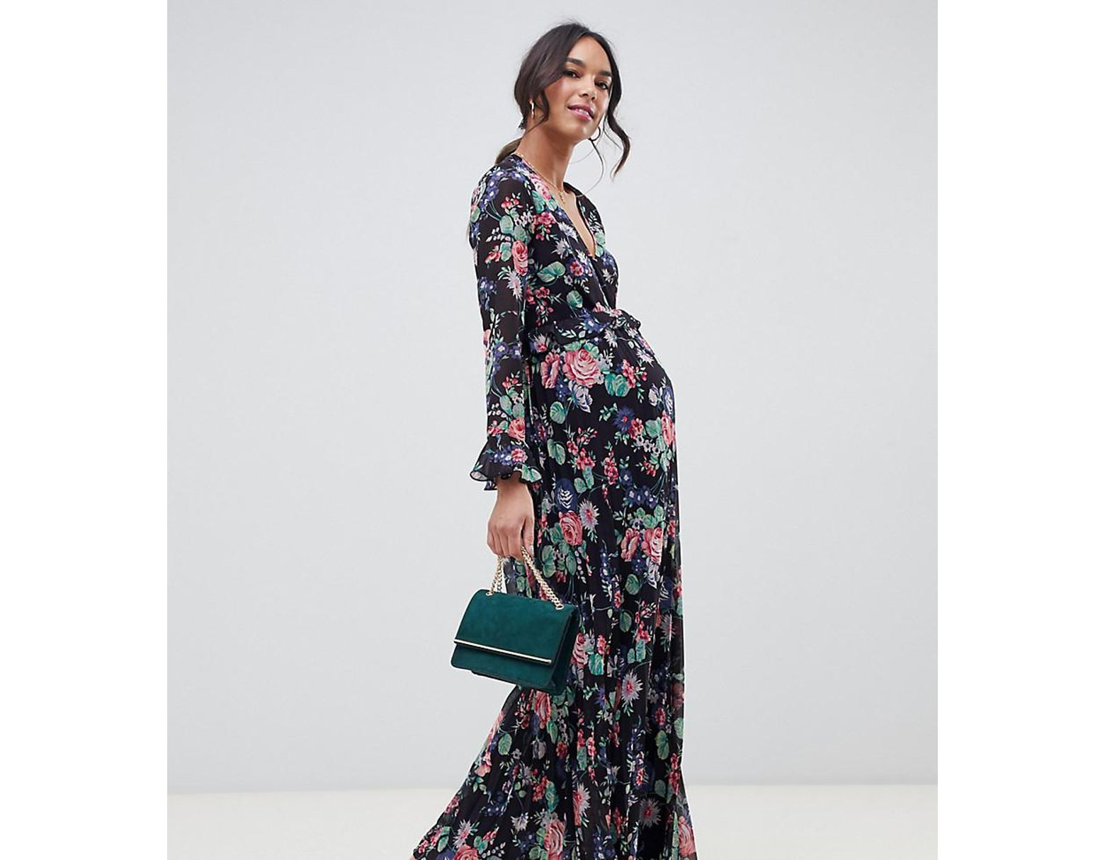 51e9c35261 ASOS Asos Design Maternity Pleated Wrap Maxi Dress With Ruffle In Floral  Print in Blue - Lyst