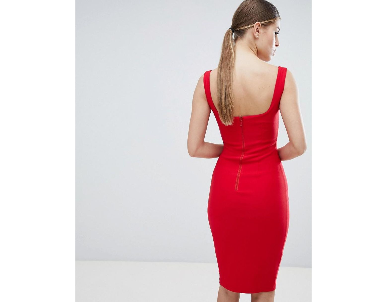 15e407be20cc5 Damen Rotes Bleistiftkleid mit eckigem Ausschnitt