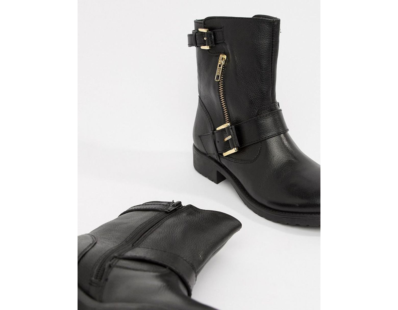 bf41fec03dc80 Dune Ripp Leather Ankle Boots in Black - Lyst