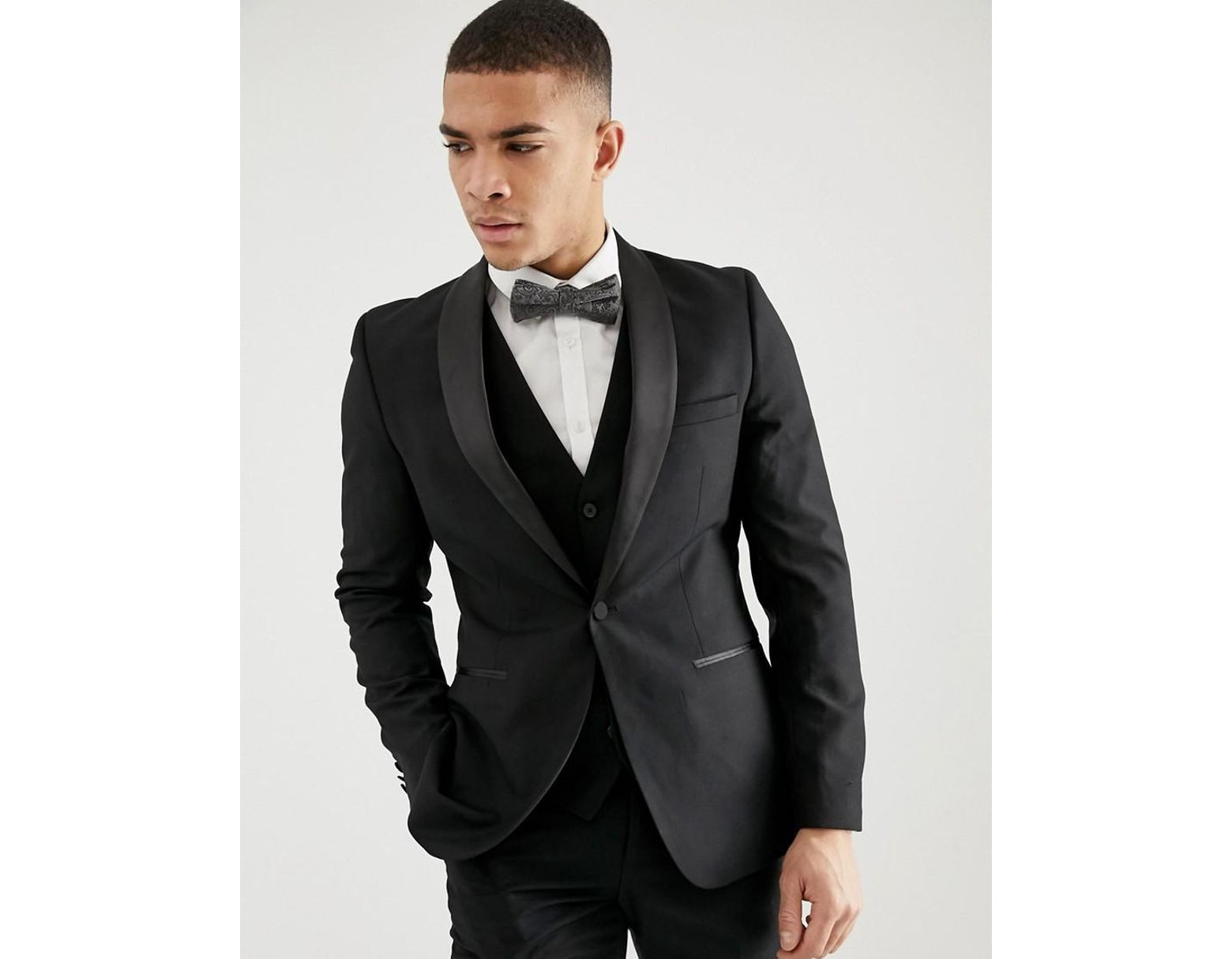 2377bff55 Men's Black Slim Fit Peak Satin Lapel Tuxedo Jacket