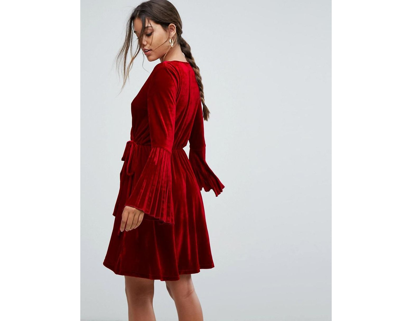 b953cca447 Aeryne Velvet Wrap Dress With Pleated Sleeves in Red - Lyst