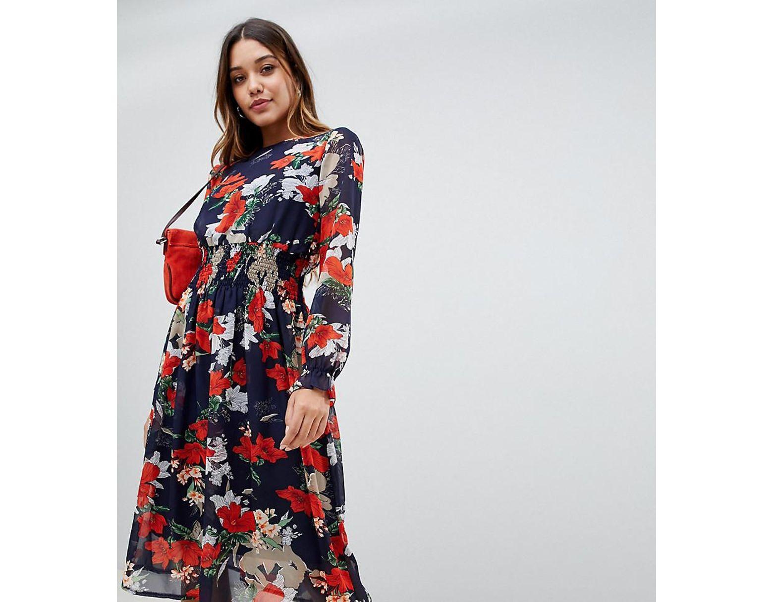 93344632c29c4 Boohoo High Neck Floral Midi Dress - raveitsafe