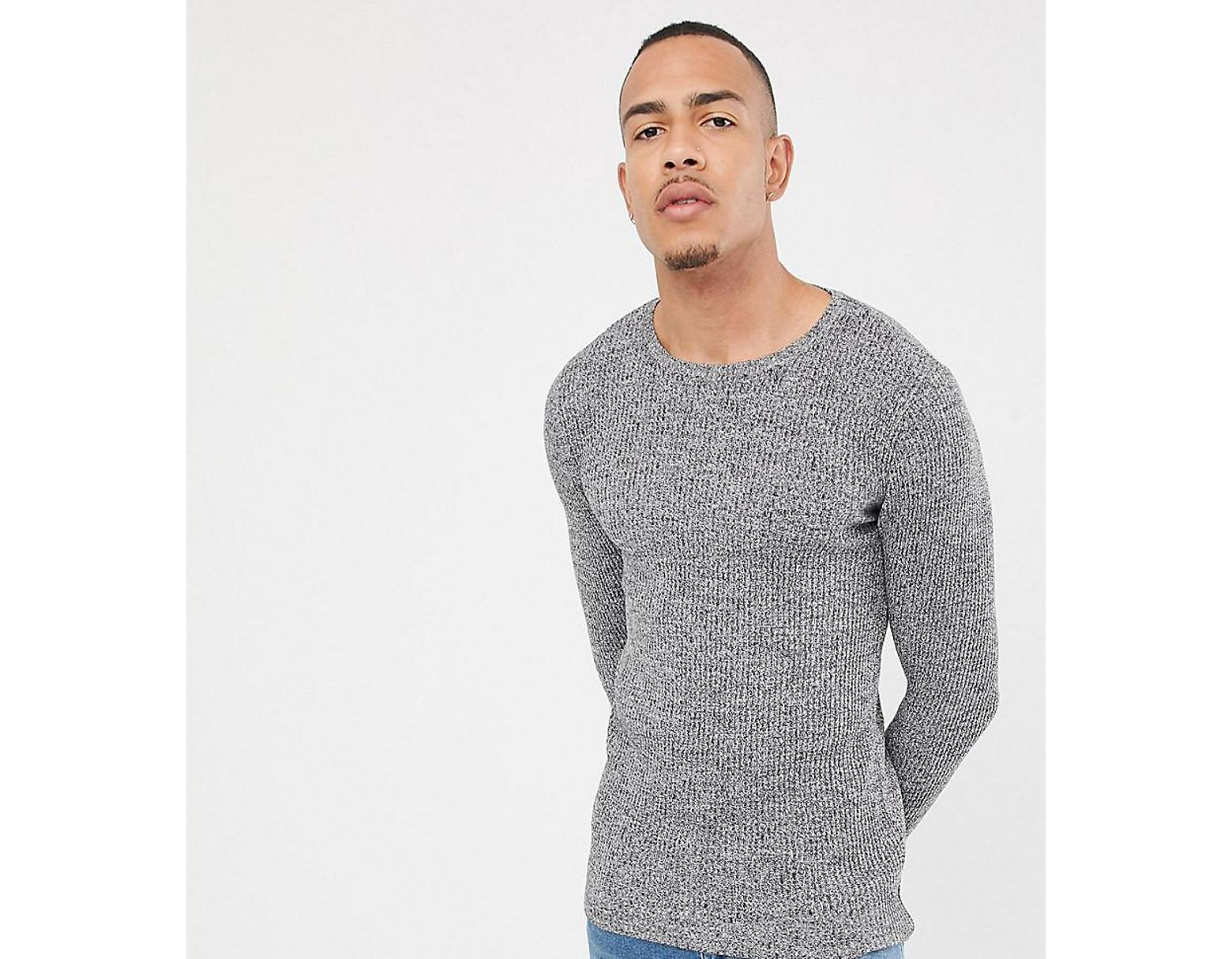 c27737d4 ASOS Tall Muscle Fit Ribbed Jumper In Black & White Twist in Gray for Men -  Lyst