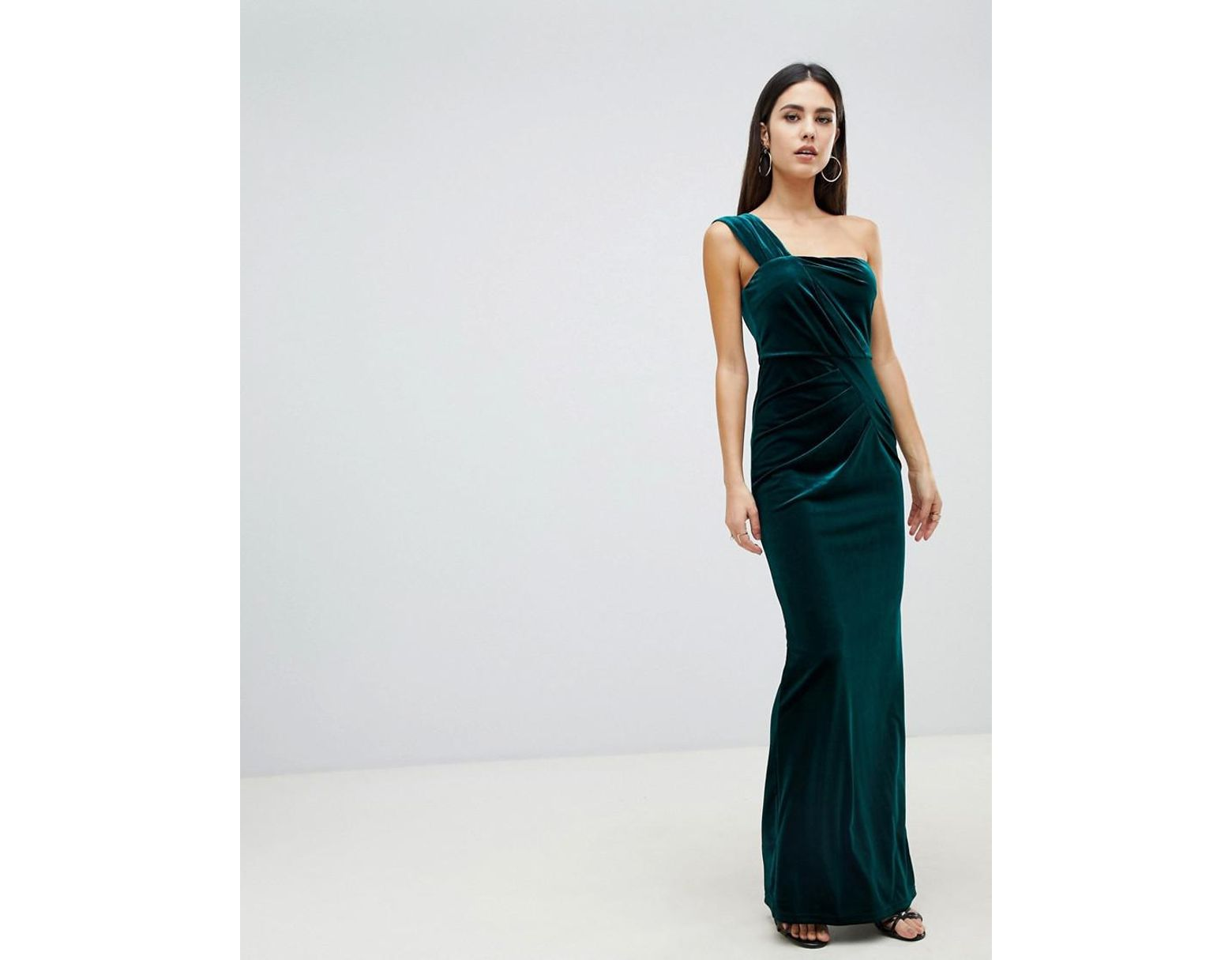 72a26df82d4 ASOS One Shoulder Velvet Maxi Dress With Ruched Detail in Green - Lyst