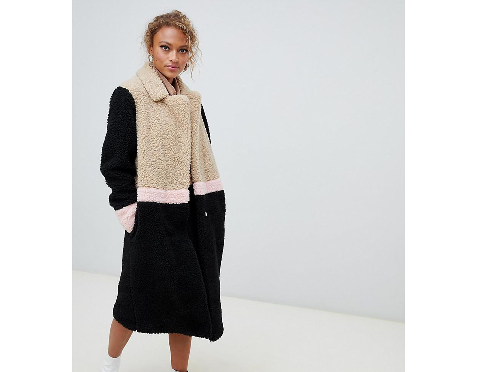 2f312947b7a4 New Look Borg Coat In Color Block in Black - Lyst