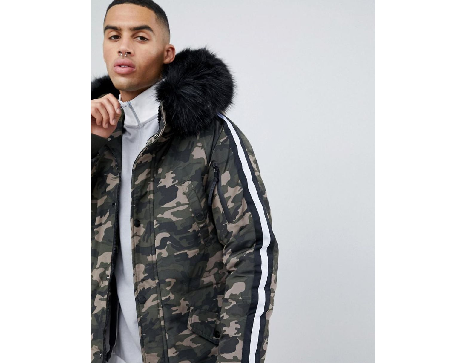 3a1e9f68 Sixth June Parka Coat In Camo With Black Faux Fur Hood in Green for Men -  Lyst