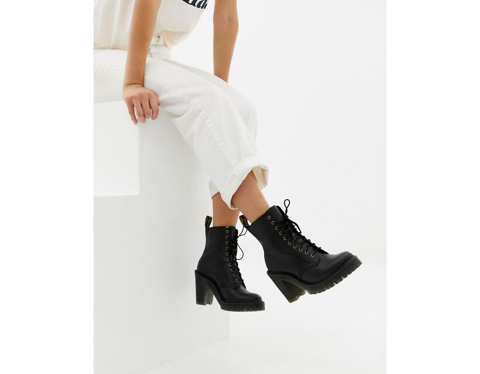 fd3d5b69a Dr. Martens Kendra Black Leather Heeled Ankle Boots in Black - Lyst