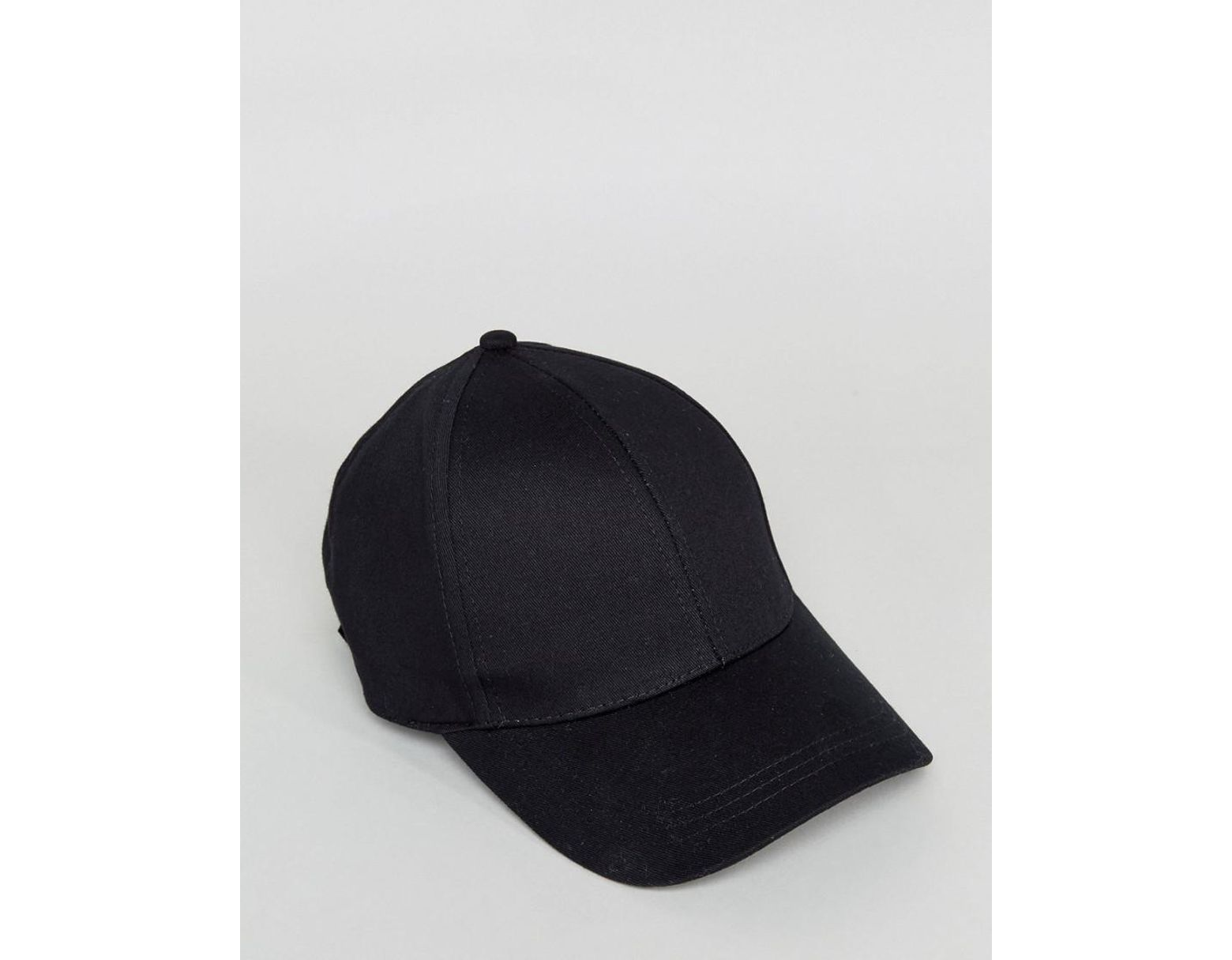c84f39cad25bbc ASOS Plain Baseball Cap With New Fit in Black - Lyst
