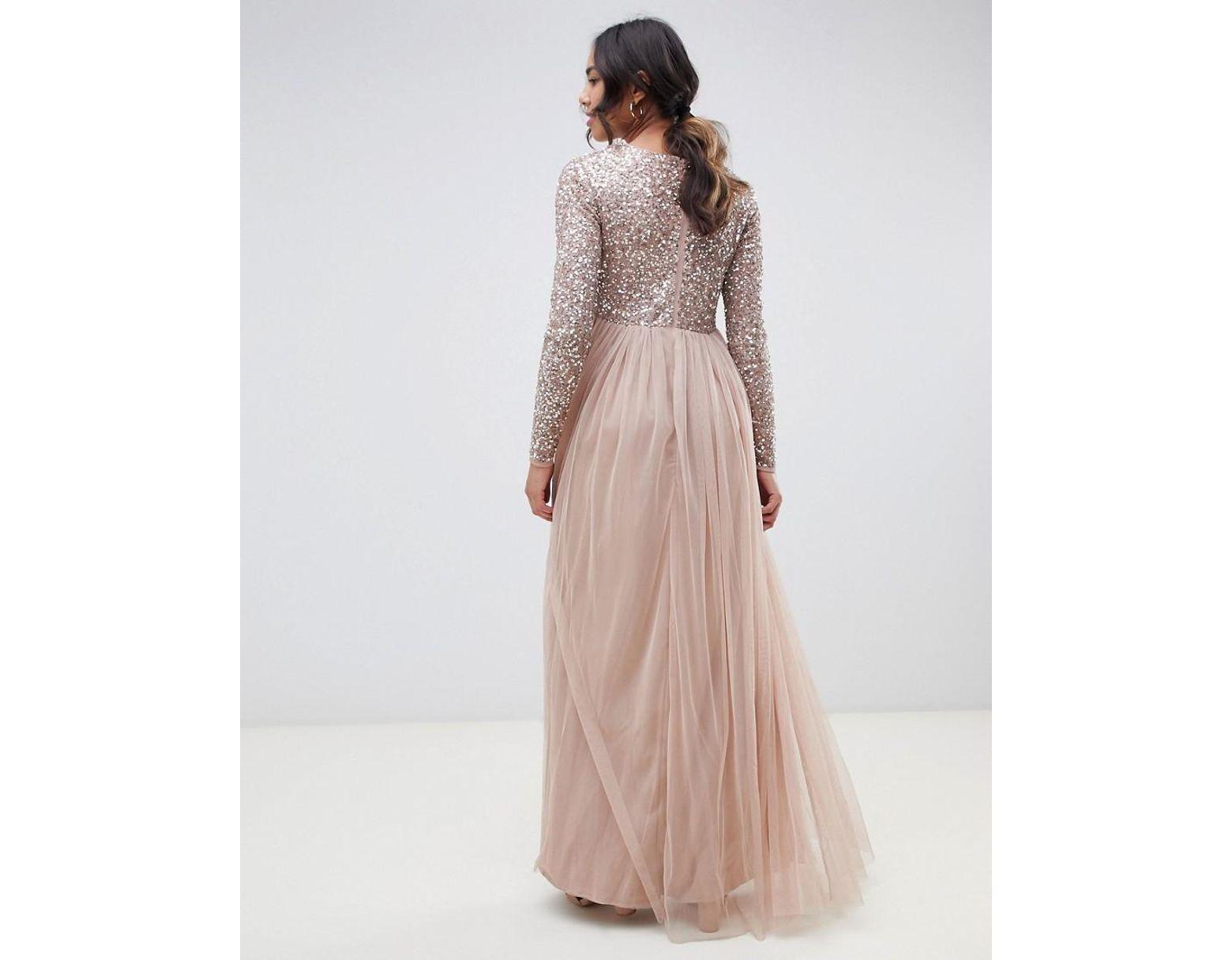 04142318d Vestido largo de manga larga de dama de honor con delicada falda de tul y  lentejuelas en rosado topo de mujer de color marrón