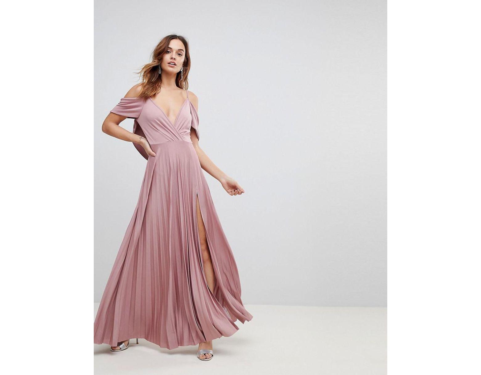 De Rose Robe Femme Nues Longue Épaules Bénitier À Dos Et Plissée Coloris vOymP0wN8n