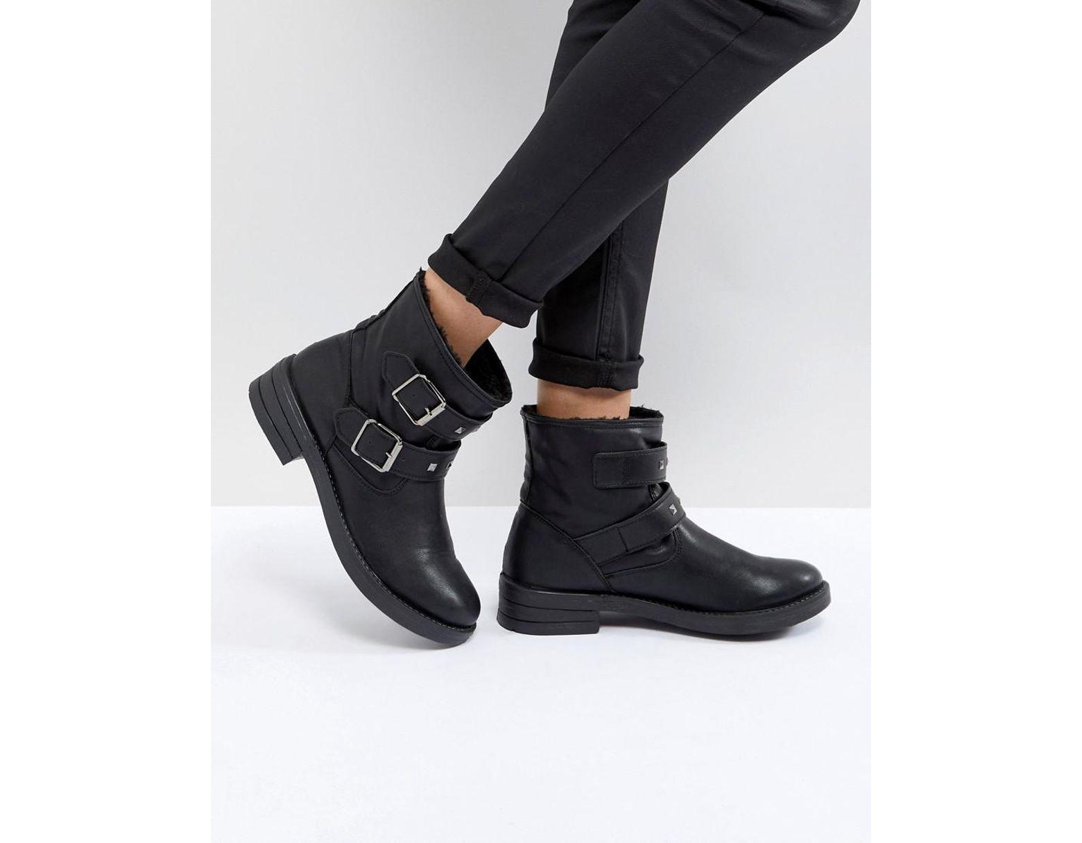 e3338324cbb Women's Black Accent Biker Ankle Boots
