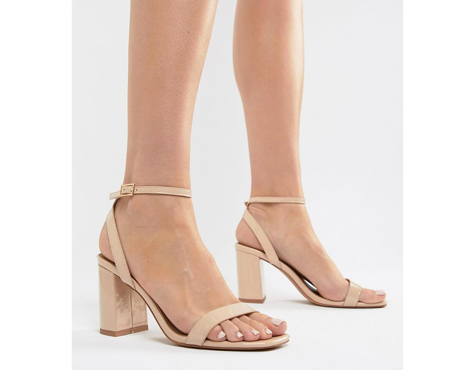 5a0e7a2648 ASOS Hong Kong Barely There Block Heeled Sandals In Warm Beige in Natural -  Lyst