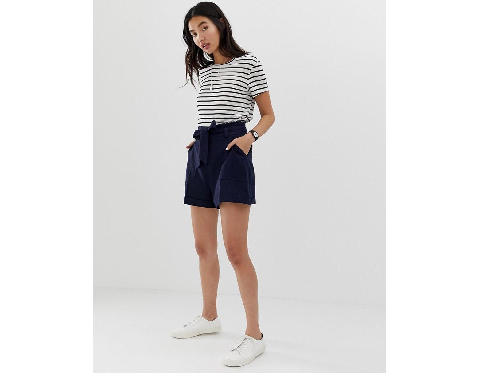 d347c08939e7 Pantalones cortos de lino con lazada en la cintura de mujer de color azul