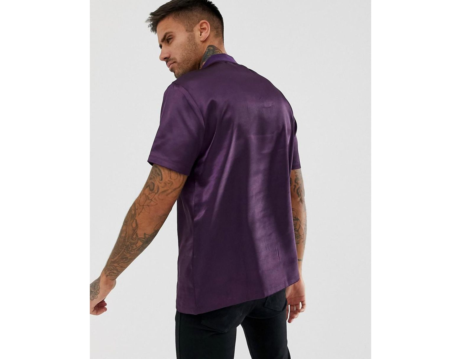 13882edf593c ASOS Relaxed T-shirt With Turtle Zip Neck In Satin Fabric In Purple in  Purple for Men - Lyst