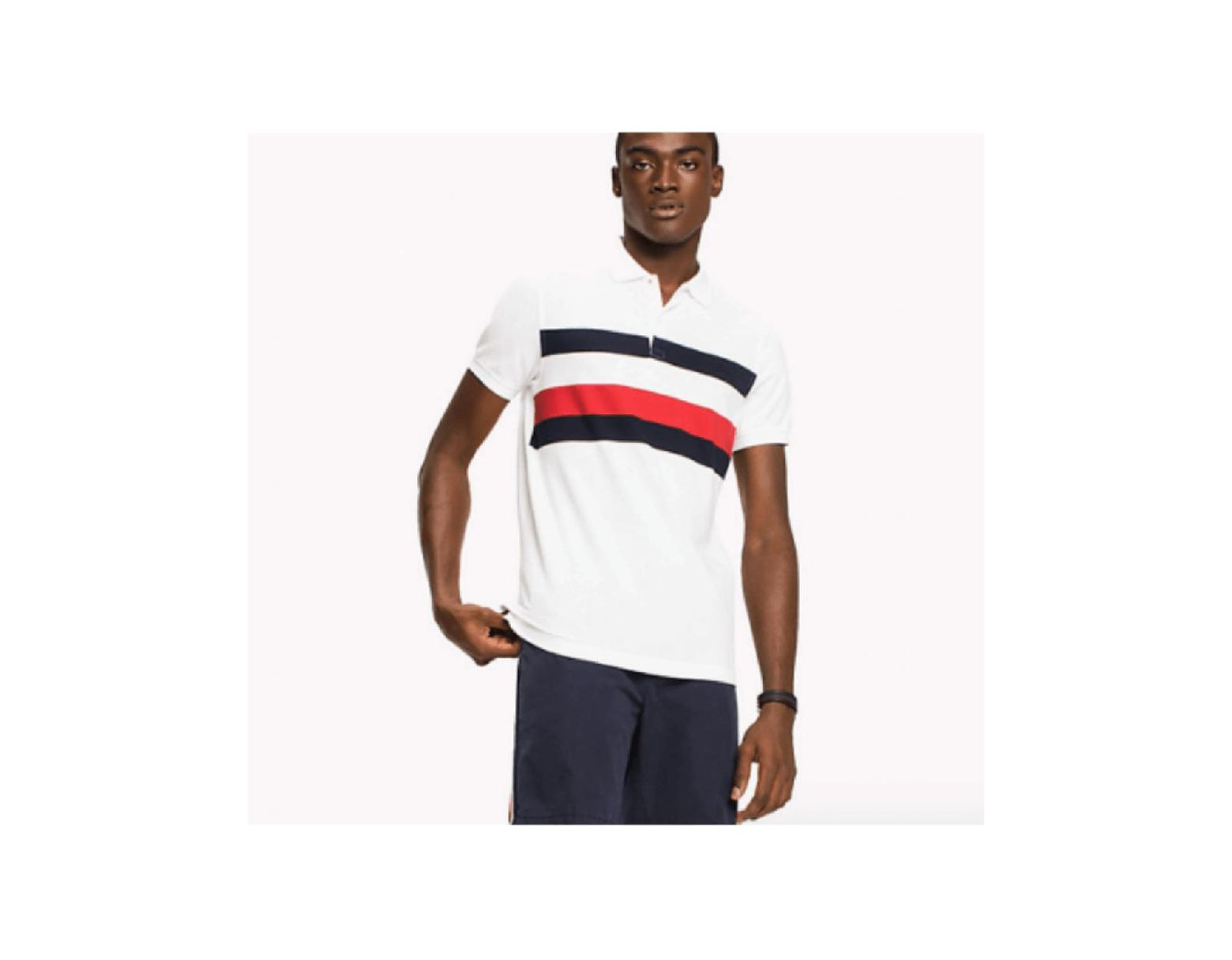 fc466afb Tommy Hilfiger Chest Stripe Polo in White for Men - Lyst