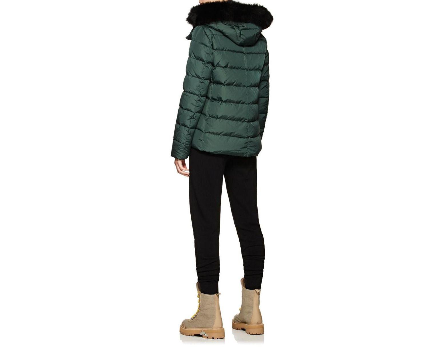 c4652bf92 Women's Green Fox-fur-trimmed Down Short Puffer Jacket