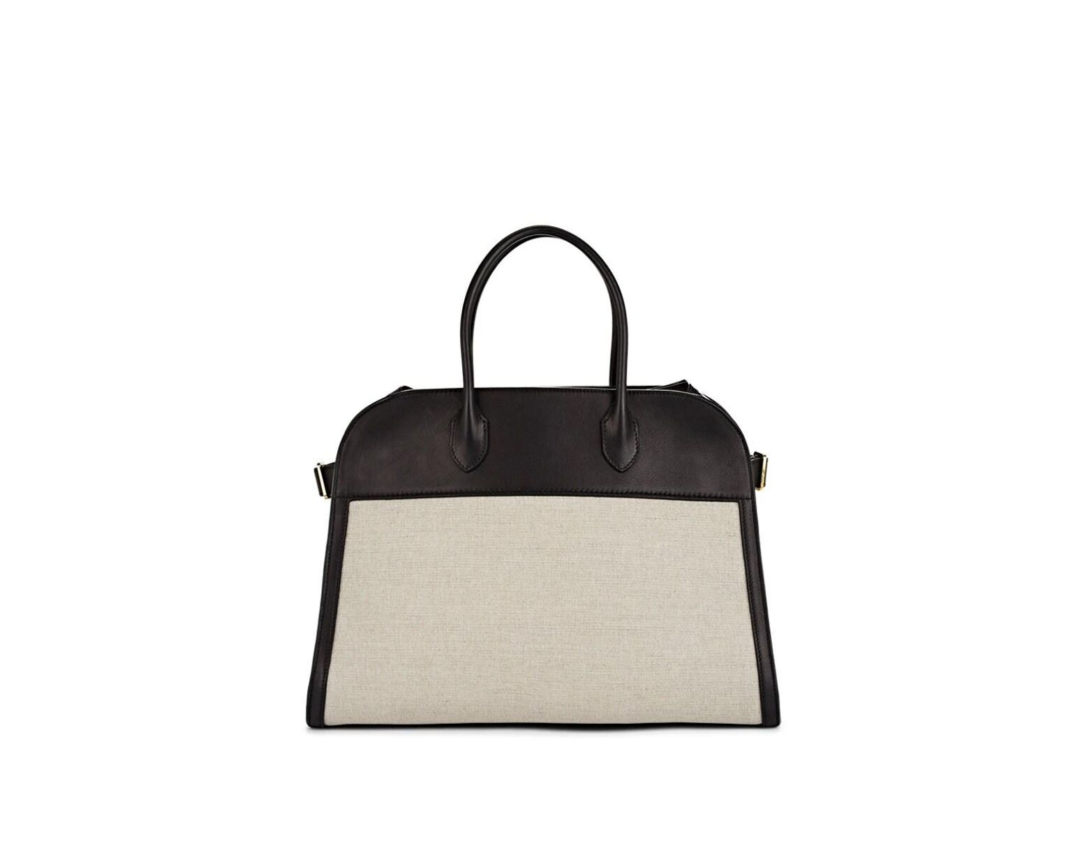9f89d21d03 The Row Margaux 15 Leather-trimmed Canvas Satchel in Natural - Lyst