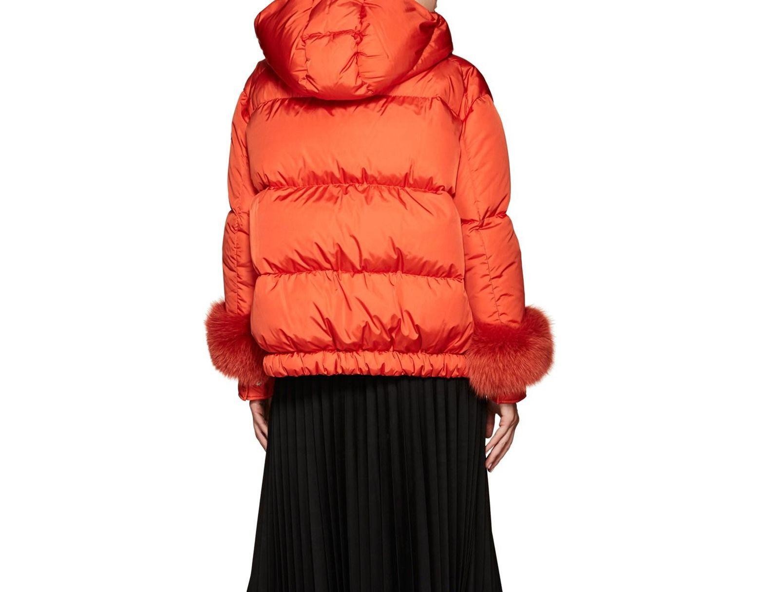 7490c4ff0 Women's Orange Effraie Fur-cuff Down-quilted Puffer Jacket