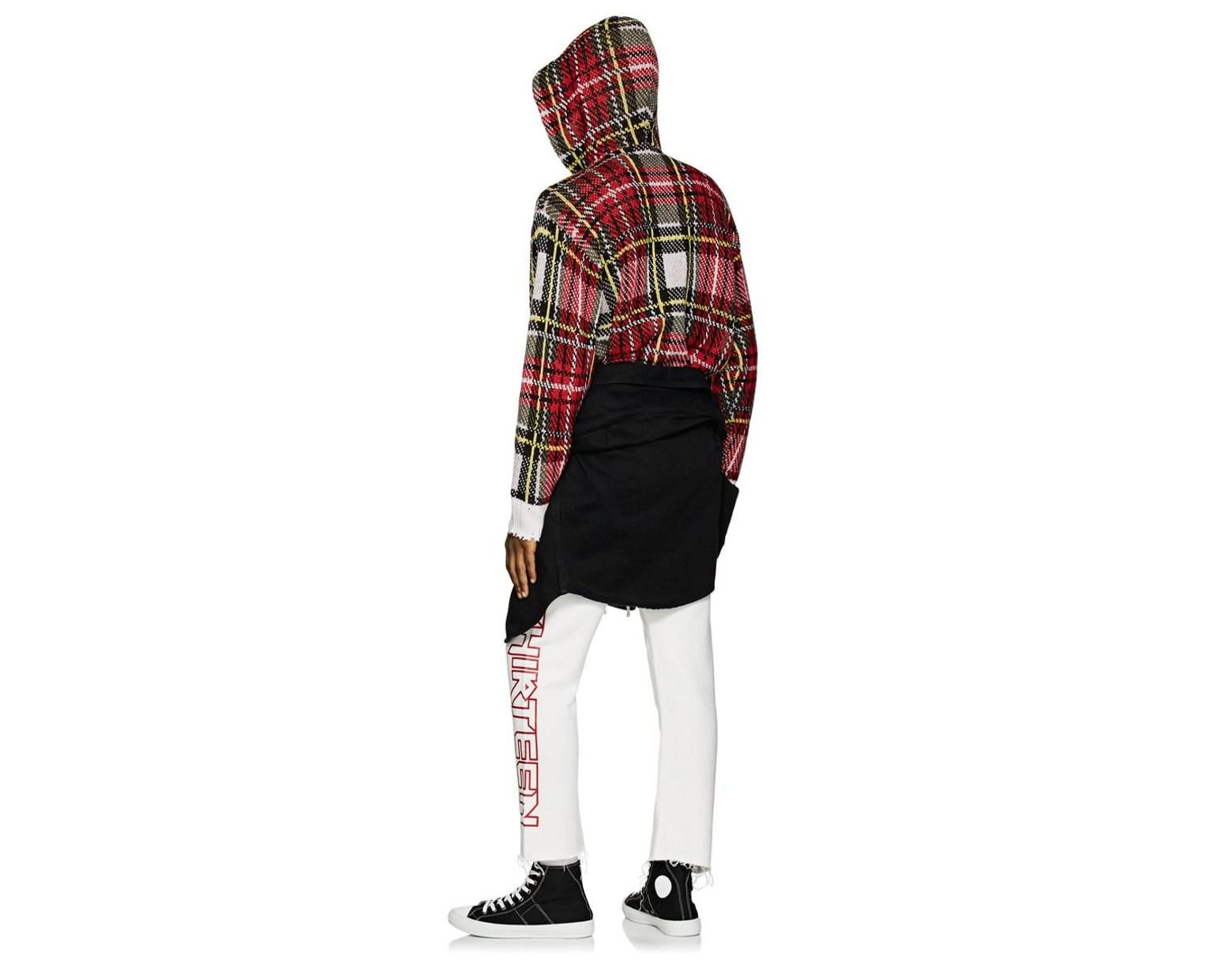 b9f0f5e1 R13 Plaid Birdseye-knit Cashmere Hoodie in Red for Men - Save 60% - Lyst
