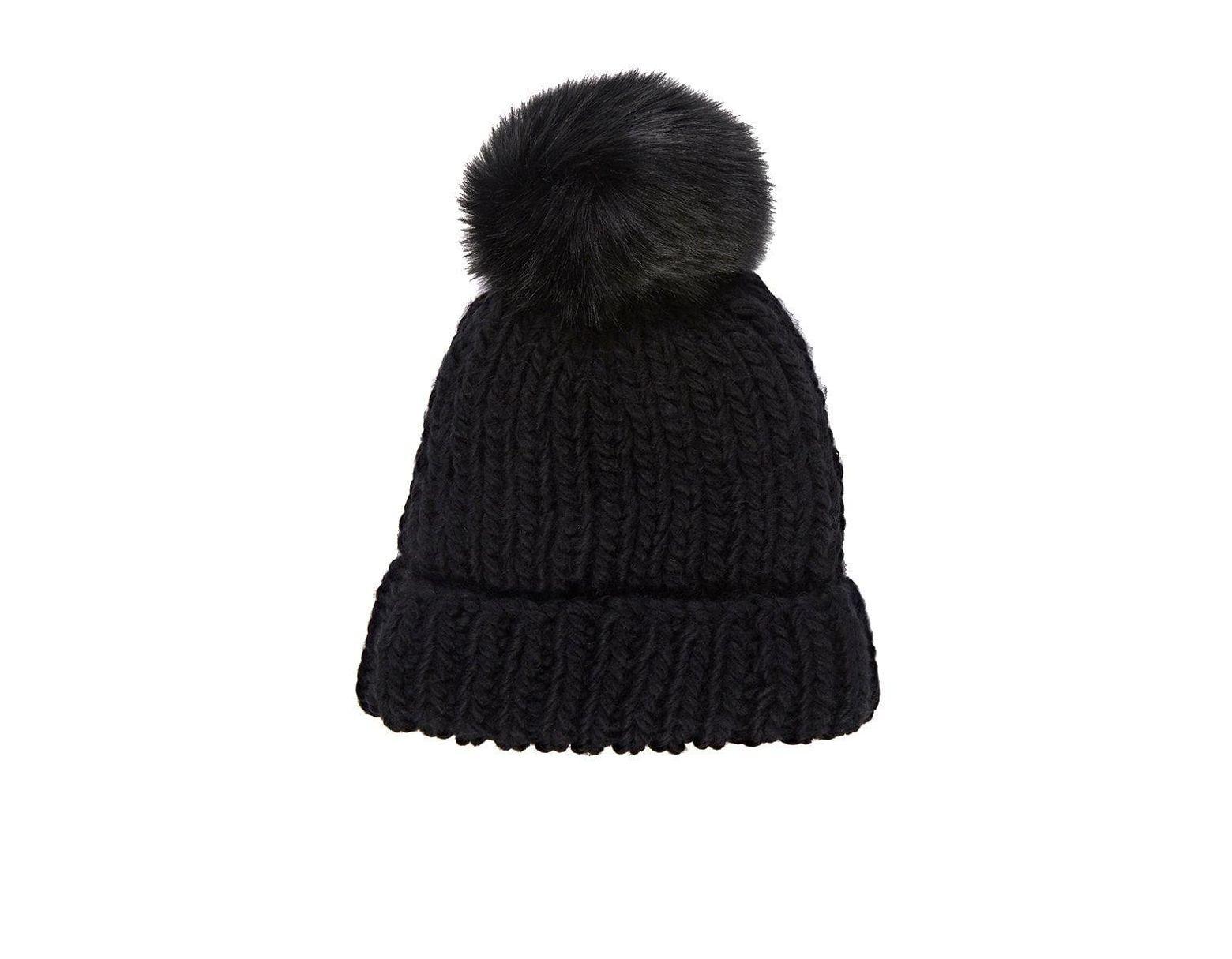 4ef5c7607 Women's Black Pom-pom-embellished Hat
