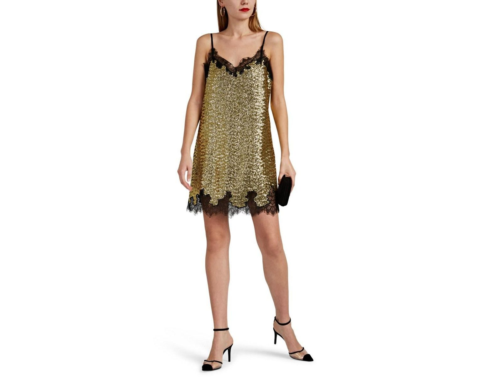 f2534b6a Robert Rodriguez Lace-trimmed Sequined Slip Dress in Yellow - Save 79% -  Lyst
