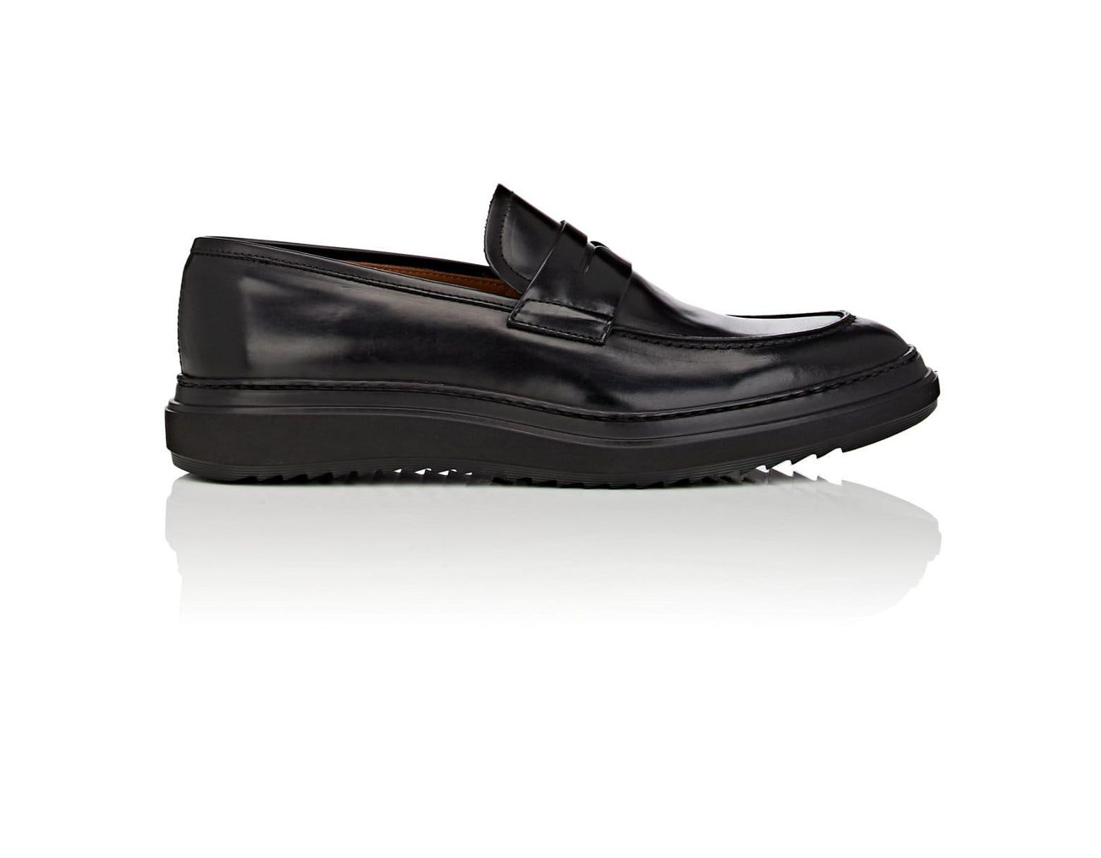 273256ddfdd88 Barneys New York Wedge-sole Suede Penny Loafers in Black for Men - Lyst