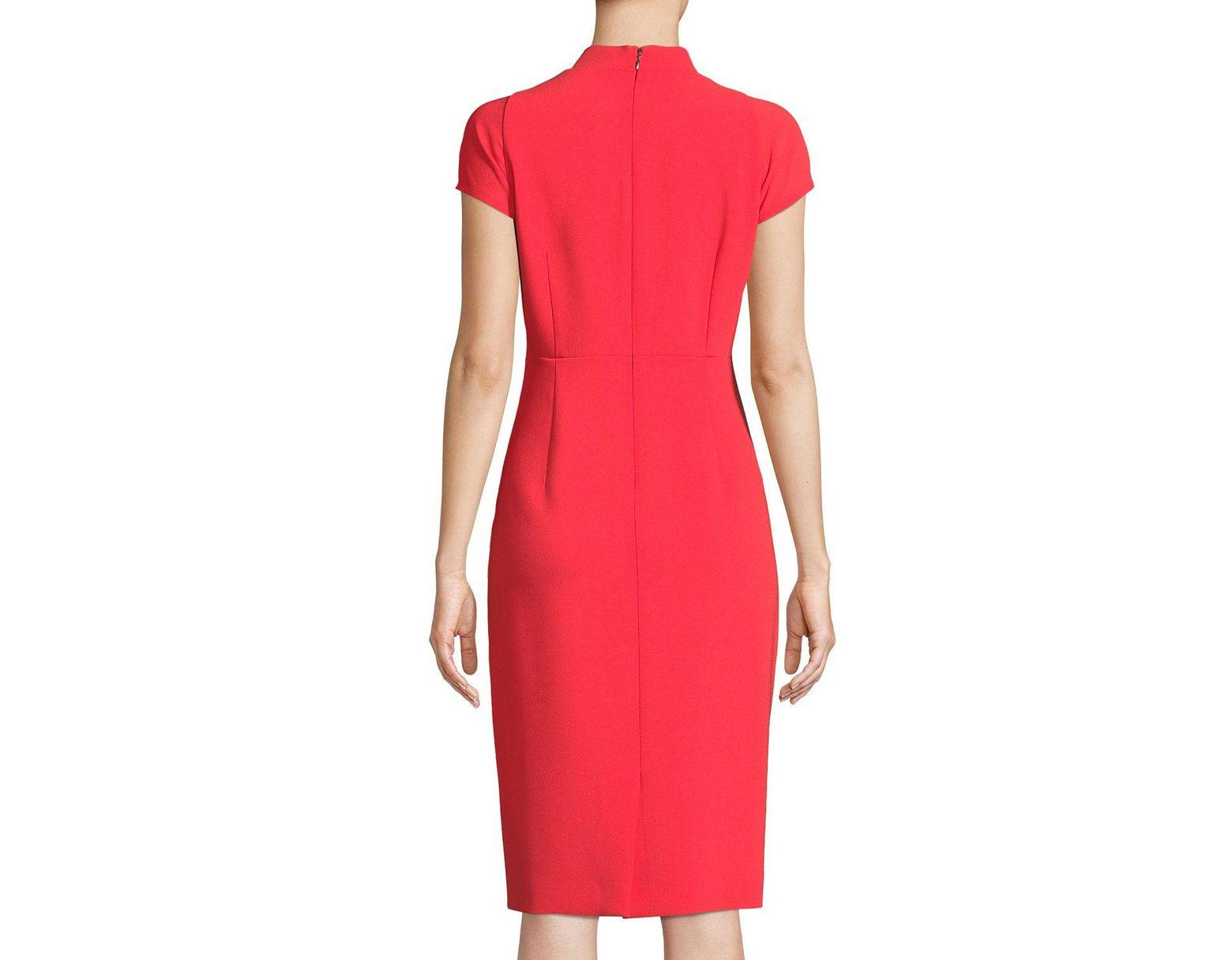e42dffb7 Elie Tahari Gerarda Stretch-crepe Sheath Dress in Red - Save 65% - Lyst
